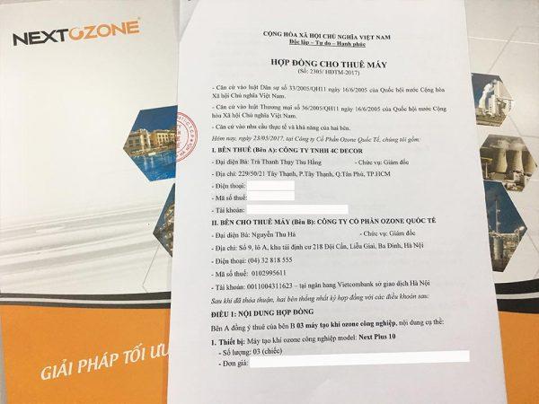 Máy ozone công nghiệp NEXT PLUS 10 bàn giao theo hợp đồng cho thuê máy ozone